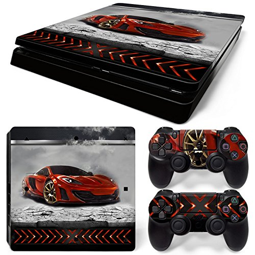 ZoomHit Ps4 Slim Playstation 4 Slim Console Skin Decal Sticker Sport Car + 2 Controller Skins Set (Slim Only)