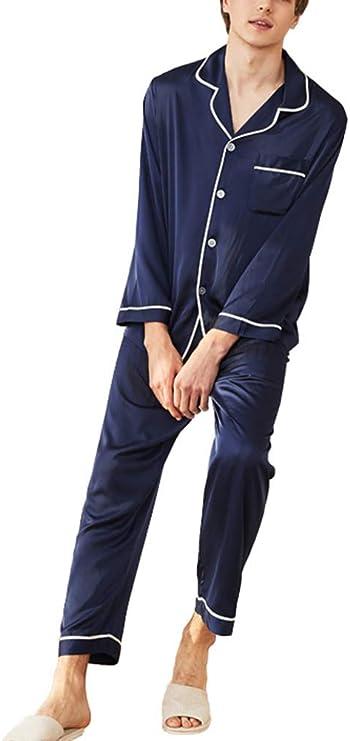 Runyue Pijama para Hombre Elegante Cómodo Manga Larga Camisa Tops +Pantalones Largos Armada 2XL: Amazon.es: Deportes y aire libre