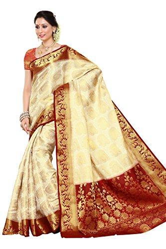 Mimosa Women's Traditional Artificial Silk Saree Kanchipuram. Off White