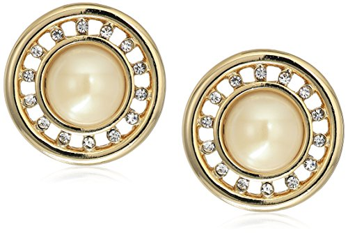 Carolee Majestic Pearl Round Pearl with Pave Button Clip-On (Carolee Round Earrings)
