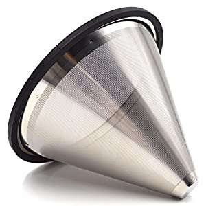YC-Houseware Pour Over Coffee Filter Tiny Holes Stainless Steel Cone Coffee Dripper Fits Various Pot, Cups, Mugs