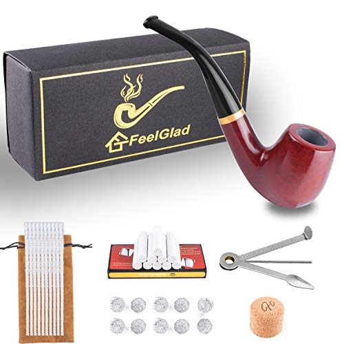 Rosewood Tobacco Smoking Pipe - Tobacco Pipe Kit 6-in-1 - Rosewood Smoking Pipes for Tobacco with Accessories and Luxury Gift Box(Pipe Cleaners/Scraper/Filter Element/Filter Ball/Cork Knockers/Box)