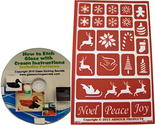 Reusable Christmas Glass Etching Stencils, Holiday Baubbles: Reindeer, Snowflakes, Gingerbread Man, Ornament, Stocking, Candle, Santa, Noel, Peace, Joy + How to Etch CD