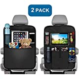 Backseat Car Organizer for Kids, Kick Mats Back Seat Car Protector, Multi-Pocket Car Hanging Storage Bag for iPad Tablet Bottle Drink Tissue Box Toys Vehicles Travel Accessories