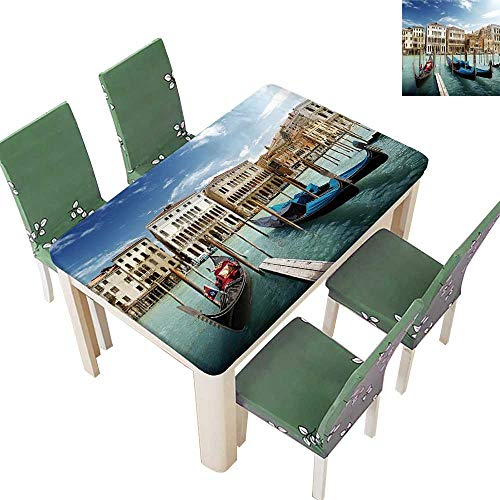 Decorative Tablecloth Gondolas Venetian Lagoon Venezia Photo Print Accessories Blue Grey Orange Assorted Size 50 x 102 Inch (Elastic Edge)