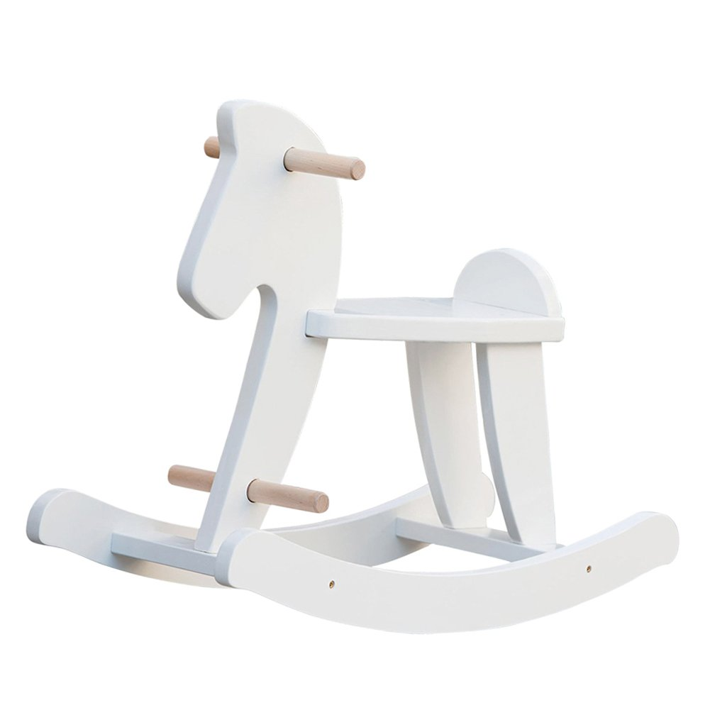 labebe Child Rocking Horse, Wooden Rocking Horse Toy, White Rocking Horse for kid 1-3 Years, Vintage Rocking Horse Set/Kid Rocking Horse Chair/Outdoor Rocking Horse/Rocker/Animal Ride/Rocking Toy