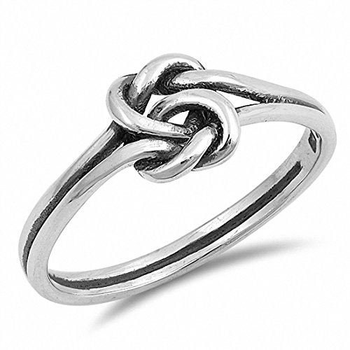Tangled Knot Heart Band Ring Double Heart 925 Sterling Silver, (Sterling Silver Double Heart Ring)