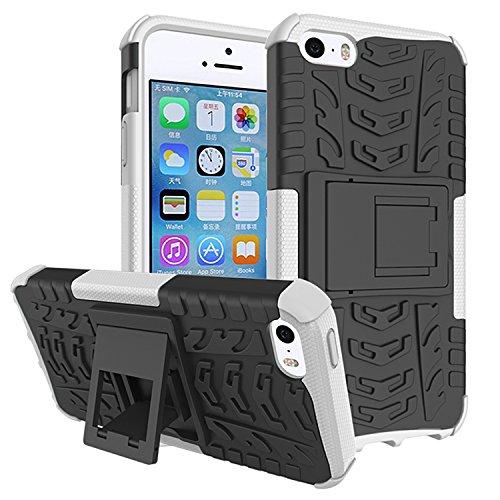 Für Apple iPhone 5 5G 5S / iPhone SE (4 Zoll) Hülle ZeWoo® Heavy Duty Case Cover Outdoor Sport Tasche Shockproof Schutzhülle Gürtel-Clip Ständer - HH003 / Weiß