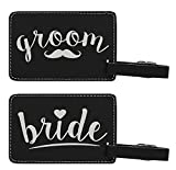 Couples Cruise Luggage Tags Bride & Groom Matching Luggage Tags for Cruise Ships Gifts 2-pack Laser Engraved Leather Luggage Tags Black