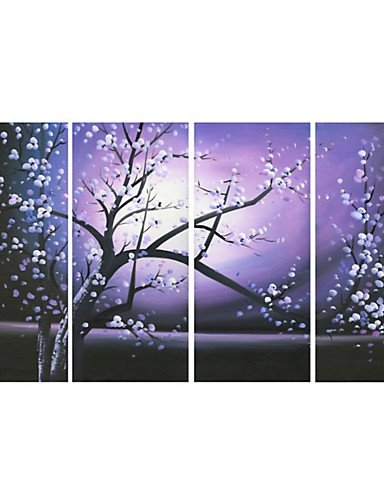 Bian tree purple hand painted with white flower oil painting canvas bian tree purple hand painted with white flower oil painting canvas hemp 4 pcs mightylinksfo