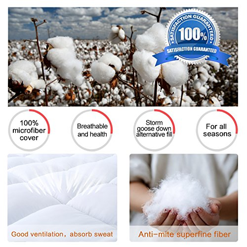 Mattress Topper Queen Size, Down Alternative Overfilled White Pillow Top Mattress Cover Plush Hypoallergenic Super Soft 2 Inch Thick Mattress Pad by Naluka(60''x80'')