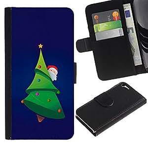 KingStore / Leather Etui en cuir / Apple Iphone 5 / 5S / ?rbol de Navidad de Santa Picea Verde Barba sombrero