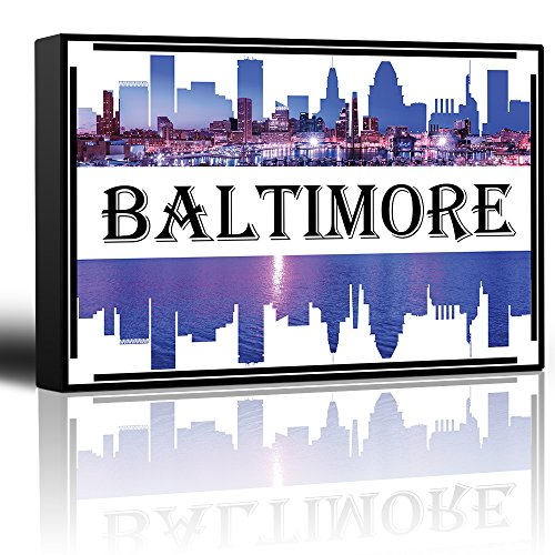 wall26 - City Skyline Series - Baltimore - Colorful Urban Decor - Sunsets and Silhouettes Famous Buildings and Landmarks - Canvas Art Home Decor - 12x18 -