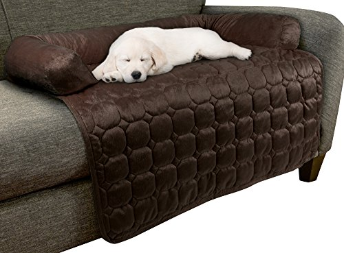 """Furniture Protector Pet Cover for Dogs and Cats with Shredded Memory Foam filled 3-Sided Bolster Soft Plush Fabric by PETMAKER – 35"""" x 35"""" Brown"""