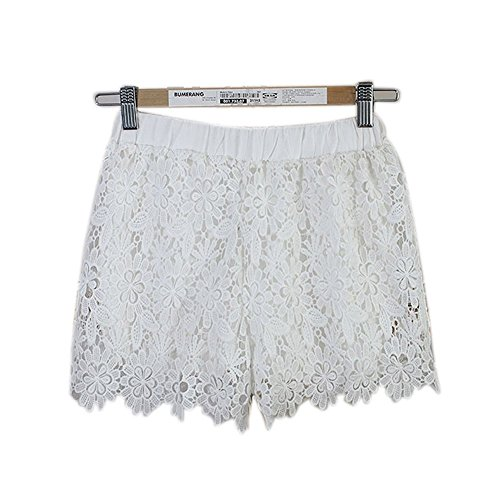Women Elastic High Waist Lace Shorts White - 5