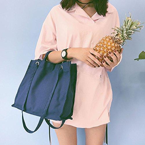 Tela in cotone Yile Eco shopping Tote borsa a tracolla colore solido Air hole 4strap 711B (blu)