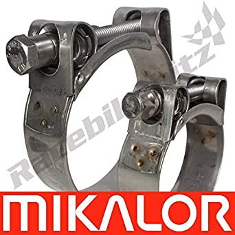 1 x 51mm 55mm Mikalor Stainless Steel W2 Supra Heavy Duty T-Bolt Hose Clamp