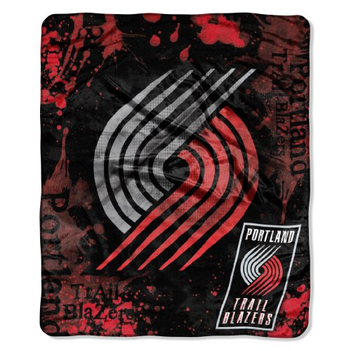 NBA Portland Trail Blazers Dropdown Royal Plush Raschel Throw Blanket, 50x60-Inch