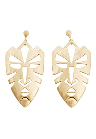 ae791ca23030d MANGO - Face Jewellery earrings - Size:One size - Color:Gold: Amazon ...