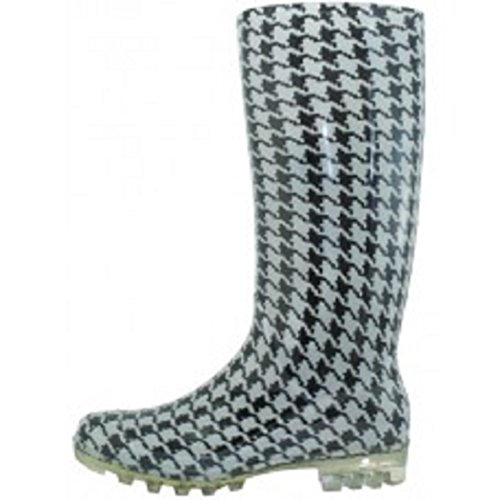Shoes 18 Womens Classic Rain Boot with Buckle (8, Houndstooth Rain)