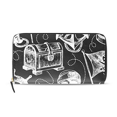 Sunlome Skull Pirate Anchor Fortune Print PU Leather Long Wallets Zipper Clutch Ladies Purse Wallet for Women Girl