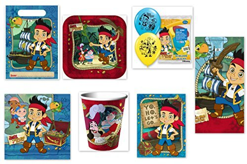 - Jake and the Never Land Pirates Party Supplies for 16 Guests This Ultimate Party Pack Includes Table Cover, Cups, Napkins, Plates, Treat Bags, Invitations, Curling Ribbon, Streamer, and Balloons