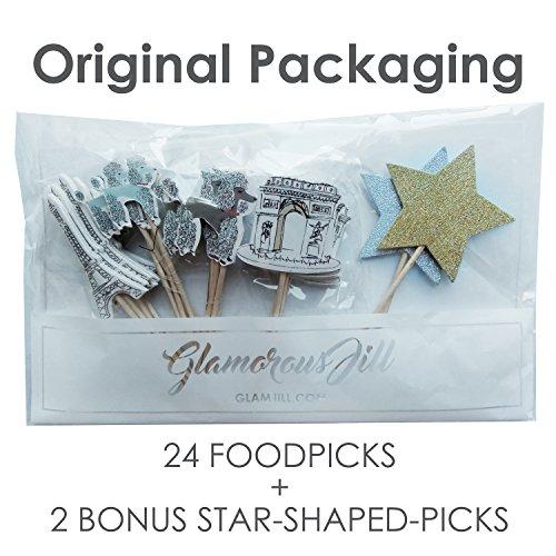 Value Pack- 24 Cupcake Toppers Picks- Various Themes (Paris Romance)