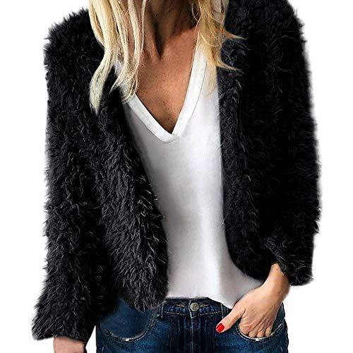 Women Fuzzy Coat,Cenglings Faux FurWarm Wool Pockets Crop Jacket Open Front Short Cardigan Black