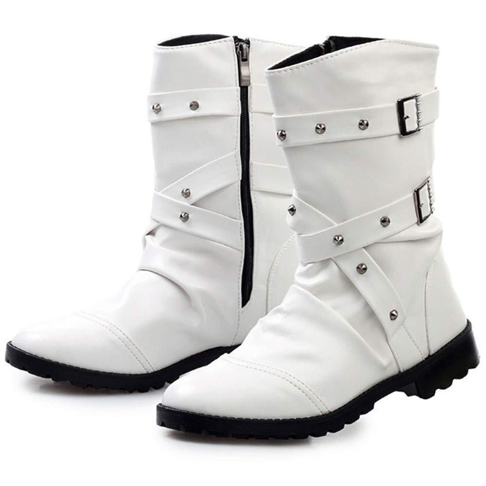 IDNG Basketballschuhe Stiefel Schwarz Motorradstiefel Für Männer Reißverschluss Schnalle Warm Schnee Stiefel