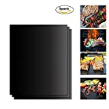 Grill Mat Set of 3- 100% Non-stick BBQ Grill Mats- FDA-Approved, PFOA Free, Reusable , and Easy to Clean- Works on Gas , Charcoal , Electric Grill and More - 1616 x 13 Inch