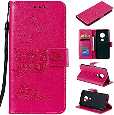 Mooness Moto G7 Wallet Case,Moto G7 Plus Flip Cover-Red Embossing Fashion  PU Leather Case,Magnetic Flip Kickstand Cover Card Holders & Hand Strap