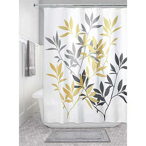 iDesign Leaves Fabric Shower Curtain, Modern Mildew-Resistant Bath Curtain for Master Bathroom, Kid's Bathroom, Guest Bathroom, 72 x 72 Inches, Yellow and Gray (Pale Yellow Fabric)
