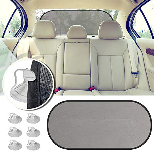 (2win2buy Rear Window Sunshade, Car Sun Protector Maximum UV Glare Protector for Rear Facing Baby Car Seats, Passengers & Pets with Suction Cups Fit Most of Vehicle GSM 80)