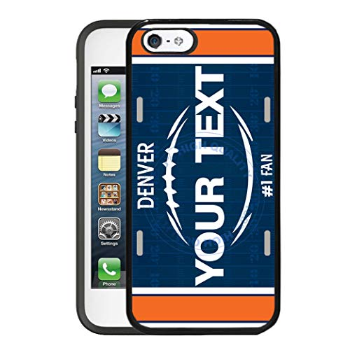 BRGiftShop Customize Your Own Football Team Denver Rubber Phone Case for Apple iPhone 5 5s & iPhone SE ()