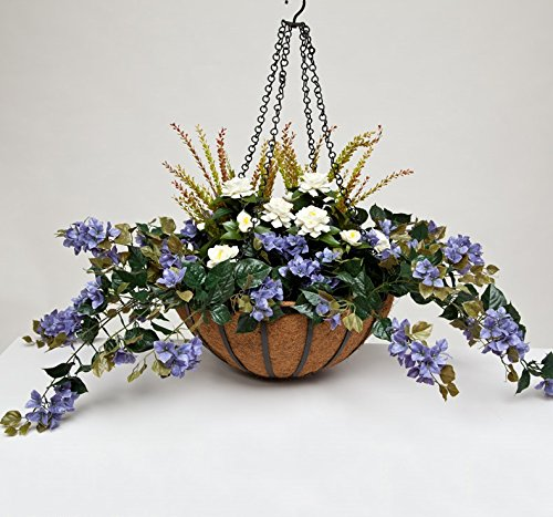 22'' Hanging Basket with Artificial Bougainvillea Arrangement with 8 Plants - Purple by Windowbox