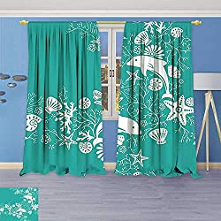 Philiphome Blackout Curtains Thickening Polyester,Animals Decor Dolphins and Flowers Sea Floral Pattern Starfish Coral Seashell Wallpaper Pattern Thermal Insulated Grommet for Living Room