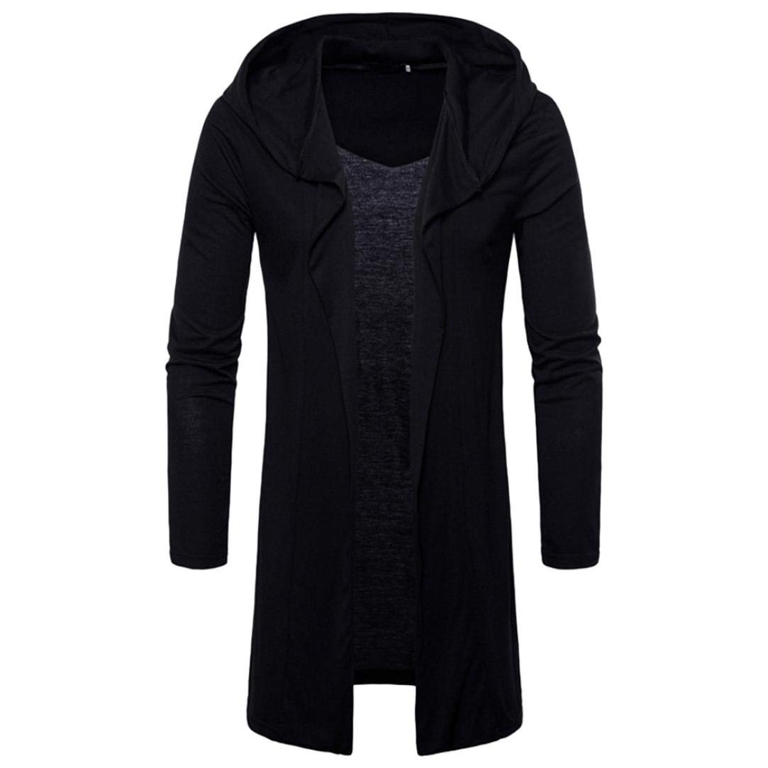 vermers Clearance Fashion Mens Hooded Cardigans Sweatshirt Trench - Mens Casual Solid Coat Long Sleeve Outwear Tops(2XL, Black)