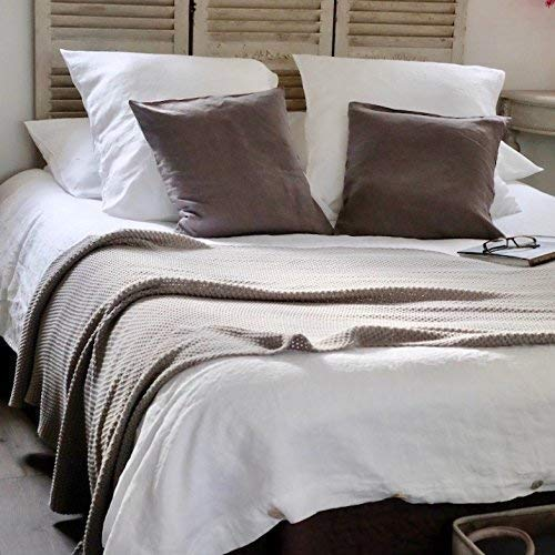 Flax Linen White Euro Sham Euro Pillow Cover Linen Farmhouse Bedding