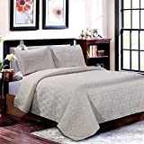 LINT HINT Silky Matt Satin Machine Quilted and Prewashed 3PC Oversized All-Season Quilt Set/Coverlet Set/Bedcover Set/Bedspread Set. Full/Queen:92'x96'/20x26'(2), King: 110'x96'/20x36'