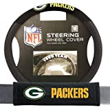 green bay seat covers for truck - Green Bay Packers NFL Steering Wheel Cover and Seatbelt Pad Auto Deluxe Kit