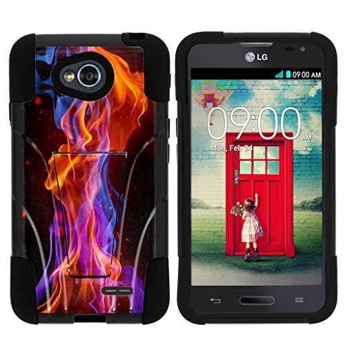 LG Optimus L70 Stand Case, LG Ultimate 2 Shell, LG Exceed 2 Case, LG Realm Case [STRIKE IMPACT] Hard Shell Bumper Case Dual Action with Kickstand by Miniturtle - Flames Light (L70 Lg Orange Optimus Case)