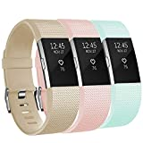 AdePoy Replacement Sport Strap Band Compatible for Fitbit Charge 2, Adjustable Accessory Sport Wristband Women Men,large,champagne,teal,pink