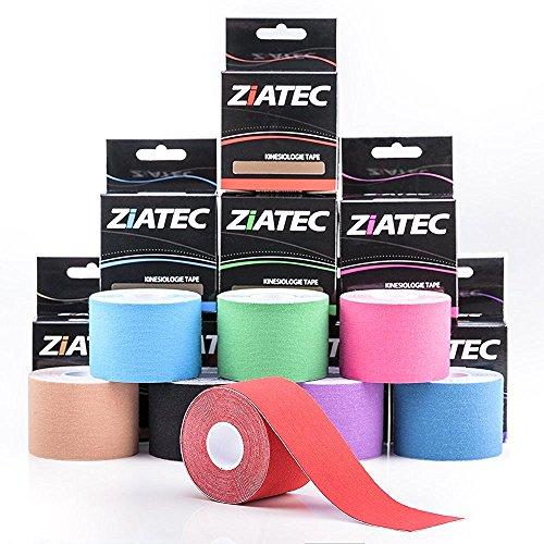 Ziatec Pro Kinesiologie Tape - Physio-Tape -Sport-Tape - elastische Bandage für Physiotherapie, Sport, Freizeit und Medizin. 100% gewebte Baumwolle, wasserresistent, Farbe:1 x pink