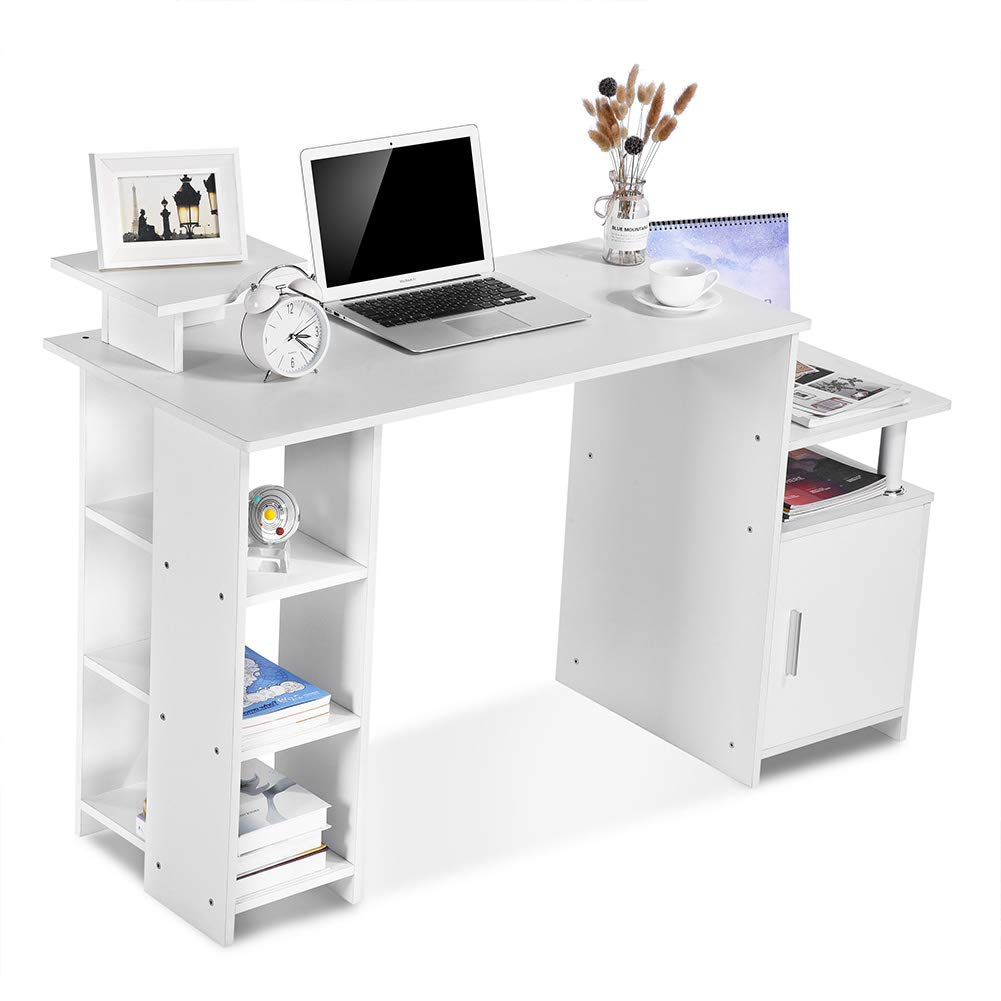 Exblue Computer Desk//Student PC Workstation Laptop Table and Storage Unit Combo Ideal Desktop for any Size Computers and Laptops White
