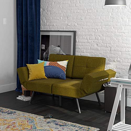 REALROOMS Euro Loveseat Futon, Reclining Sofa Couch, Adjustable Armrest Sleeper, Green Linen