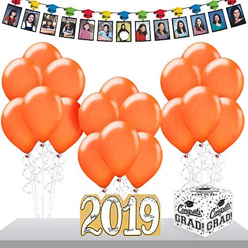 Party City Orange 2019 Graduation Gift Table and Sign-In Supplies with Garland, Autograph Sign, Balloons and More]()