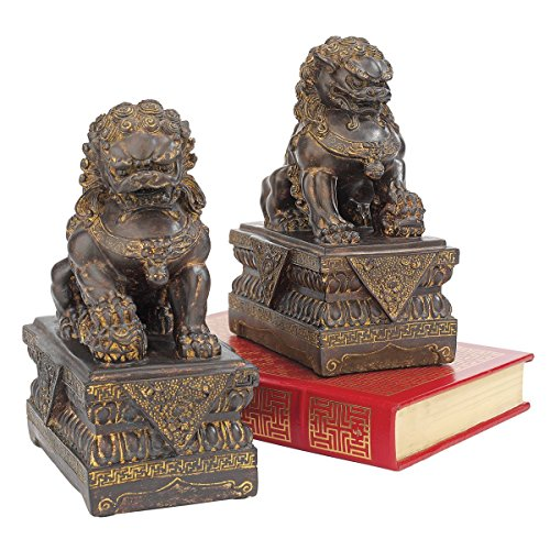 (Design Toscano Chinese Guardian Lion Foo Dog Asian Decor Statues, 9 Inch, Set of Two Male and Female, Polyresin, Bronze Finish)