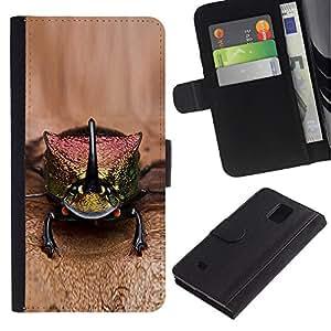 LASTONE PHONE CASE / Lujo Billetera de Cuero Caso del tirón Titular de la tarjeta Flip Carcasa Funda para Samsung Galaxy Note 4 SM-N910 / gecko lizard brown nature exotic animal