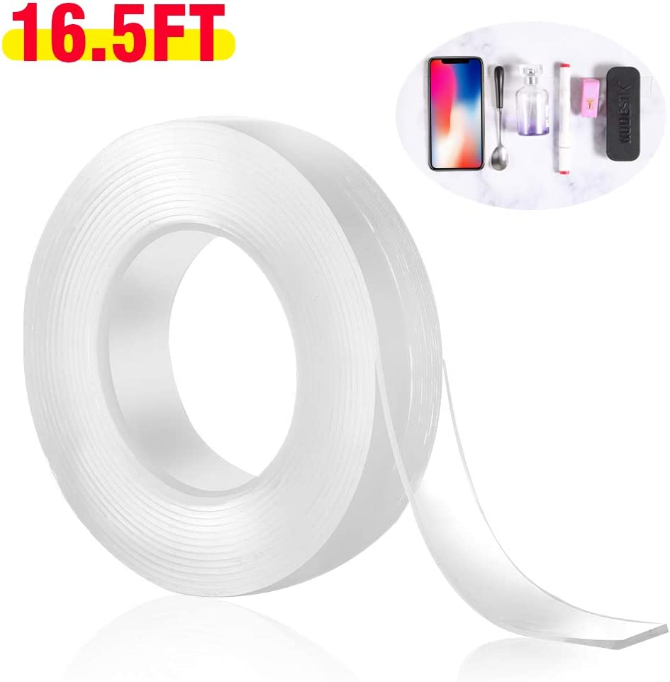 Nano Magic Tape Anti-Slip Gel Tape Removable Traceless Washable Reusable Gel Grip Sticky Tape Double Sided Tape Heavy Duty Adhesive Mounting Carpet Tape