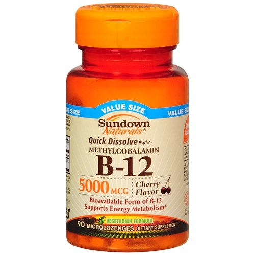 Sundown Naturals Quick Dissolve Vitamin B-12 5000mcg, Microlozenges, Cherry 90 ea Pack of 3 by Sundown